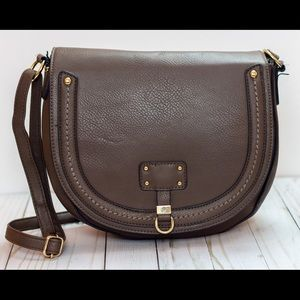 Saddle Lg Bag Brown Faux Pebble Leather Crossbody